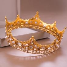 Vintage Gold Royal Crown Round Tiara Bride Head Jewelry Pearl Crystal Hair Accessories Wedding Crown Ornaments Headband Diadem