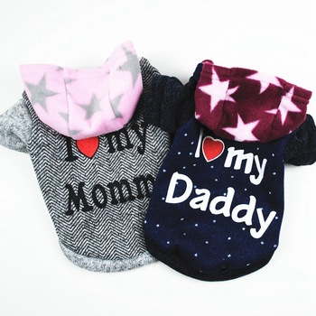 I Love Daddy/Mommy Dog Clothes Puppy Hoodie Thickening Cotton Winter Warm Hooded Coat Doggie Costume Outfit Chihuahua Pet Jacket image