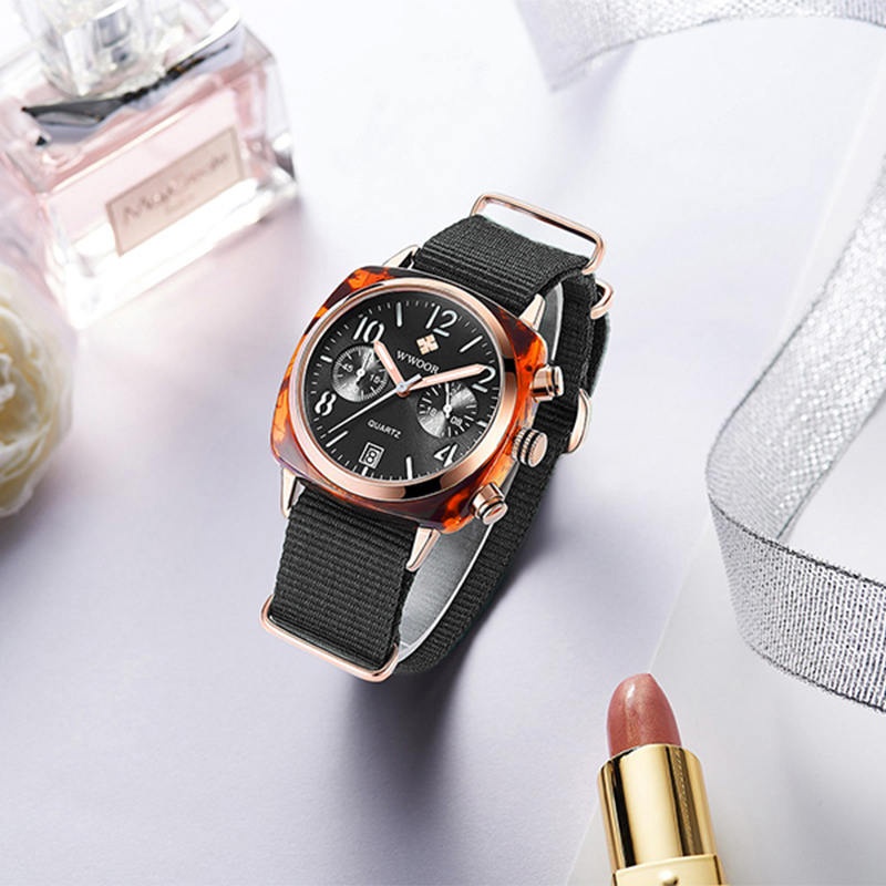Image 4 - Top Luxury Brand WWOOR New Lady Nylon watch three eye fashion watch factory waterproof Quartz female watches women montre hommeWomens Watches   -