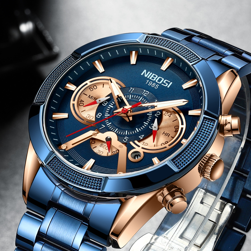 NIBOSI Watch-Top Mens Chronograph Luxury Brand Quartz Date Masculino Male Relogio New-Arrival