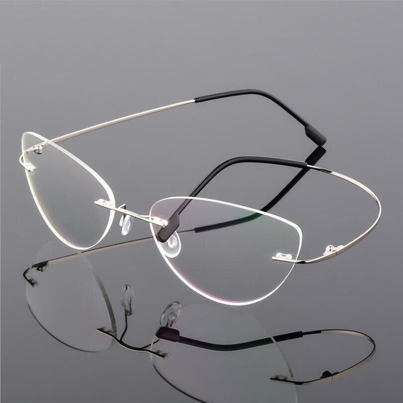 Female Rimless Titanium Alloy Glasses Frame, Women Ultralight Cat Eye Eyeglasses Frames, Prescription Presbyopia Myopia Optical