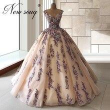 Frezowanie fioletowe suknie korowód suknia balowa z krynoliną suknie wieczorowe z koralikami na arabski dubaj 2020 islamska Custom made długa suknia pociągu