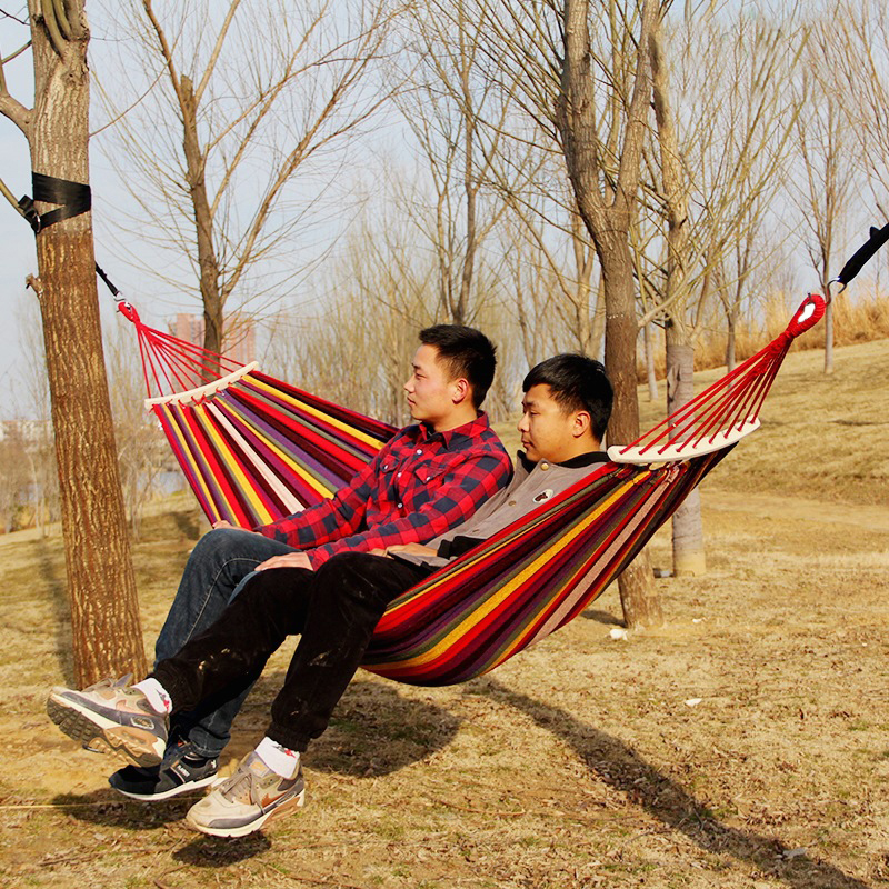 New Canvas Hammocks 260*150cm Portable Outdoor Hammock Camping Prevent Rollover Hanging Swing Bed Rainbow Color + Wooden Stick