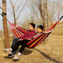 цена на New Canvas Hammocks 260*150cm Portable Outdoor Hammock Camping Prevent Rollover Hanging Swing Bed Rainbow Color + Wooden Stick