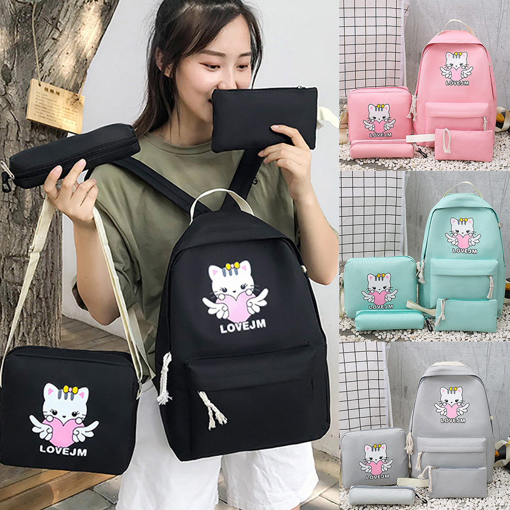 Winter 2020 Cartoon Alphabet Student Cat Backpack Casual Large Capacity Travel 4 Piece Set Dropshipping Ins Style Net Red