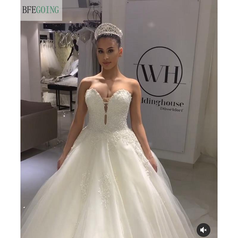 White Tulle Appliques Lace Beading Floor-Length Strapless Sleeveless   V-Neck Ball Gown Wedding Dress
