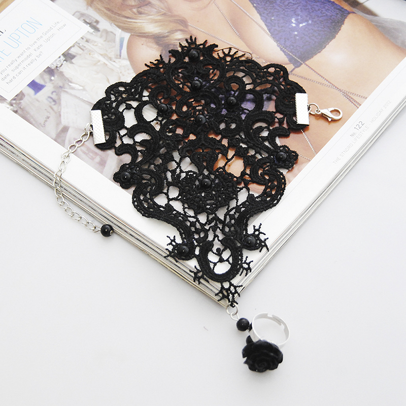 1pc Women Rose Beads Flower Lace Glove Goth Style Adjustable With Ring Long Bracelet Women Accessories