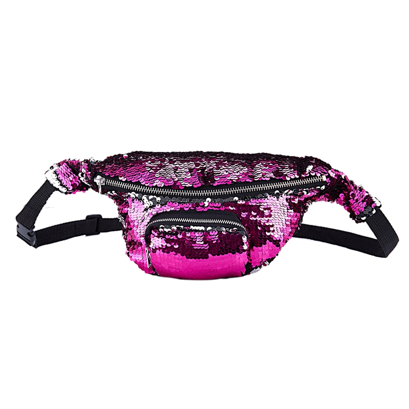 Women Adjustable Belt Sequins Shoulder Bags Zipper Chest Fanny Pack Waist Bag