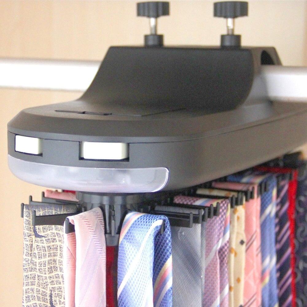 Organisateur de ceinture à cravate automatique | Écharpe suspendu à 64 cravates et 8 ceintures avec 6