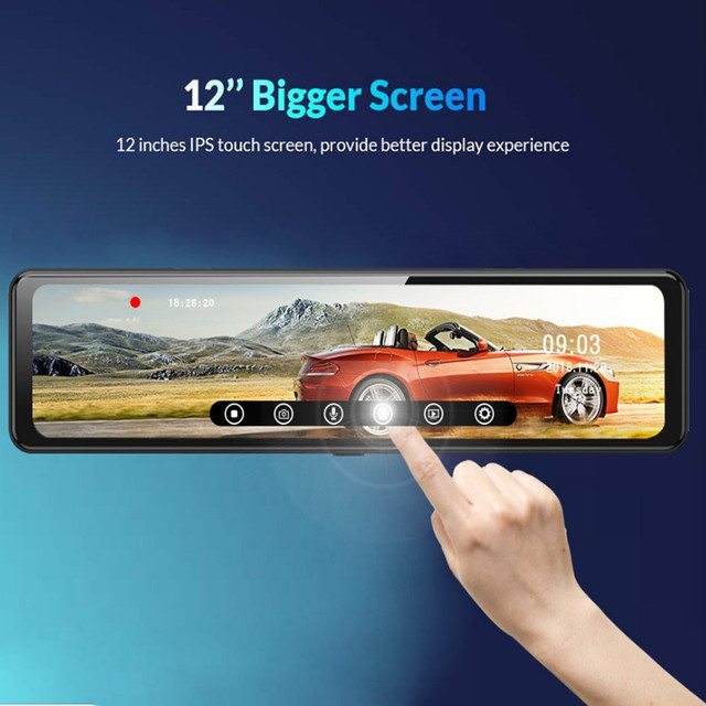 12 inch Car DVR Rearview Mirror 4G Android 8.1 Dash Cam GPS Navigation Full HD 1080P Car Video Recorder DVR 5