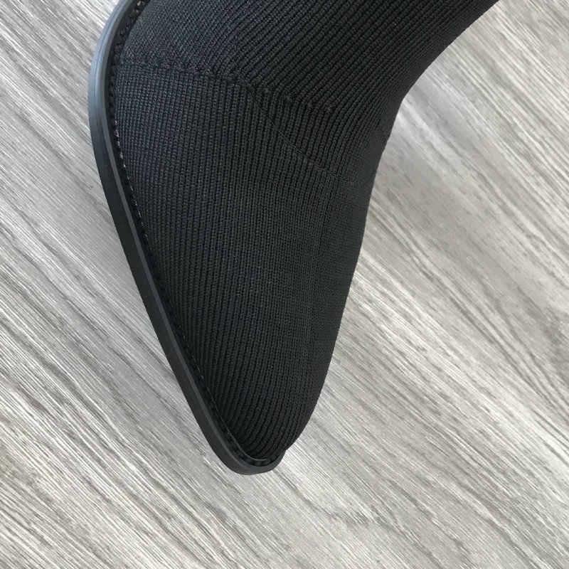 Thoải Mái Ban Nhạc Nữ Sock Giày Vuông Cao Gót Ống Giày Bốt Thời Trang Mũi Nhọn Mùa Thu Co Giãn Màu Đen Size Lớn 2019 mùa Đông