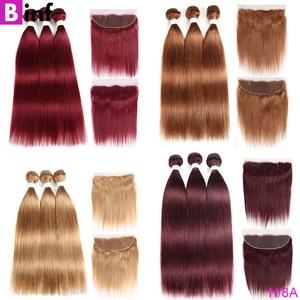 99J/бордовый 27 30 33 пучки человеческих волос с закрытием бразильские пучки прямых и волнистых волос с 4x4 закрытыми волосами Remy для женщин