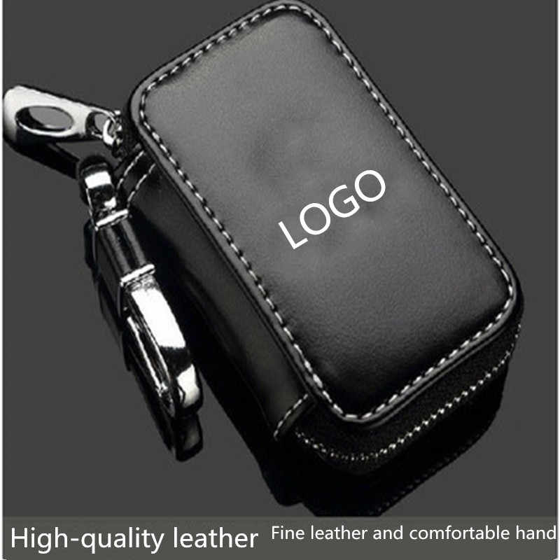 Araba anahtarı durum, araba akıllı anahtar anahtarlık tutucu Metal kanca ve anahtarlık fermuar çanta için uzaktan anahtar Fob-siyah
