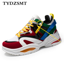 TYDZSMT 2020 Women Casual Shoes Basket Flock Platform White Sneakers Lace Up Sewing Wedges Lover Shoes for Women Zapatos Mujer