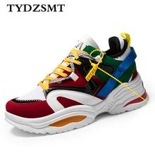 TYDZSMT 2020 여성 캐주얼 신발 바구니 플록 플랫폼 화이트 스니커즈 레이스 업 바느질 웨지 여성용 애호가 신발 Zapatos Mujer