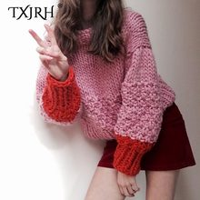TXJRH 2019 Highstreet Contrast Color Hand Made Woman O-Neck Pullover Long Lantern Sleeve Knit Loose Knitwear Jumper Sweater Tops(China)