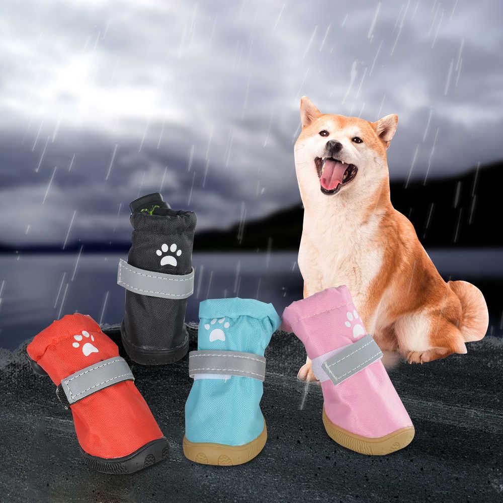 4Pcs Pet Cane Rainshoes Pet Dog Cat Impermeabile Scarpe Calde Stivali Da Neve Outdoor Anti-Slip Scarpe Da Pioggia Per grande Medio Cani di Piccola Taglia