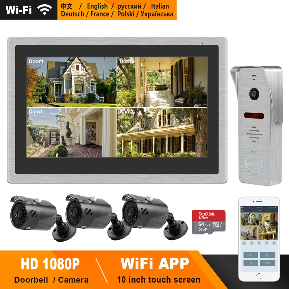 HomeFong WiFi Video Door Phone Wireless Video Intercom For Home 10inch Touch Screen 1080P Doorbell Smart Phone Real-time Control