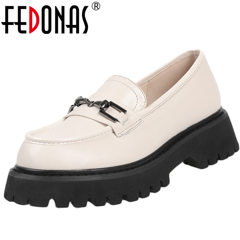 FEDONAS  New Arrival Women Sweet Working Night Club Pumps Spring Summer Metal Decoration Shoes Genuine Leather Shoes Woman