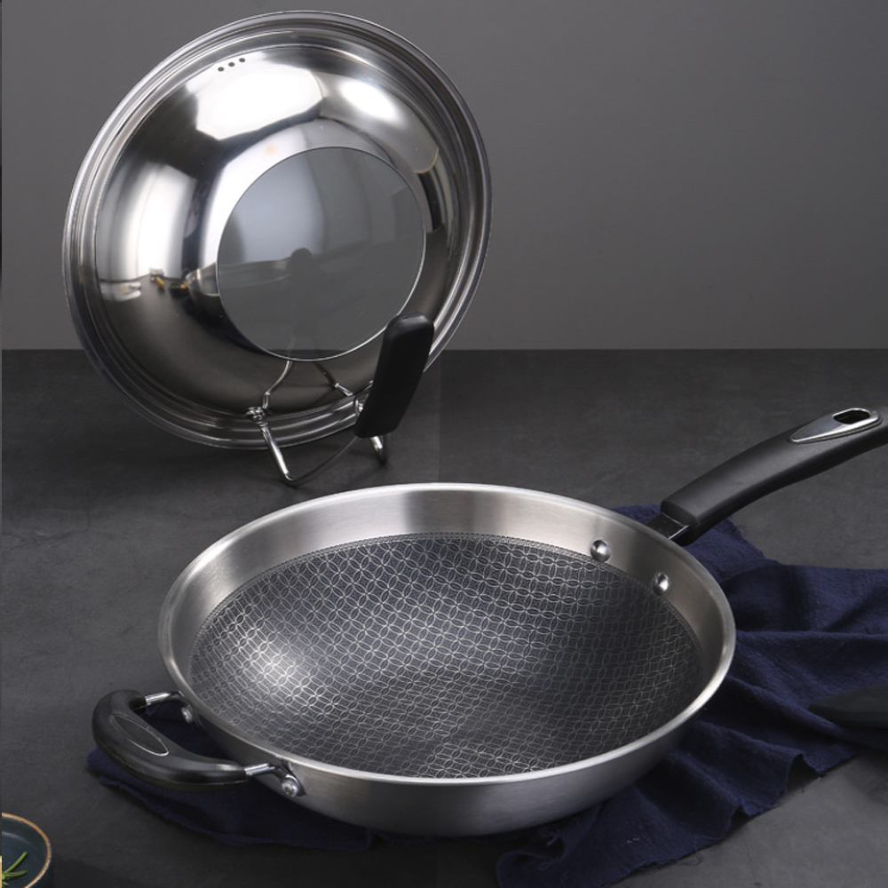 34cm 304 Stainless Steel Frying Pan Smokeless Wok Spatula Food Kitchen Fried Egg Honeycomb Non Stick Wok Cookware Uncoated Pot - 4