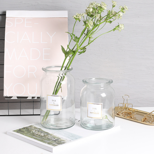 Nordic Origami Glass Flower Vase Contracted Flower Vase Clear Glass Hydroponic Desktop Ornament Home Decoration Accessories 3