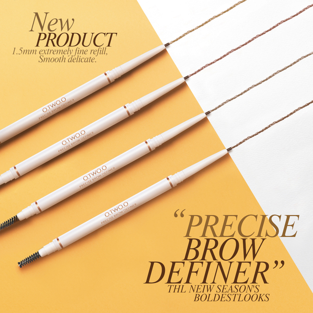 O.TWO.O Eyebrow Pencil Waterproof 4 Colors Double Ended Eyebrow Pencil Eye Brow 1.5mm Pen Brown Cosmetic Beauty Makeup 5