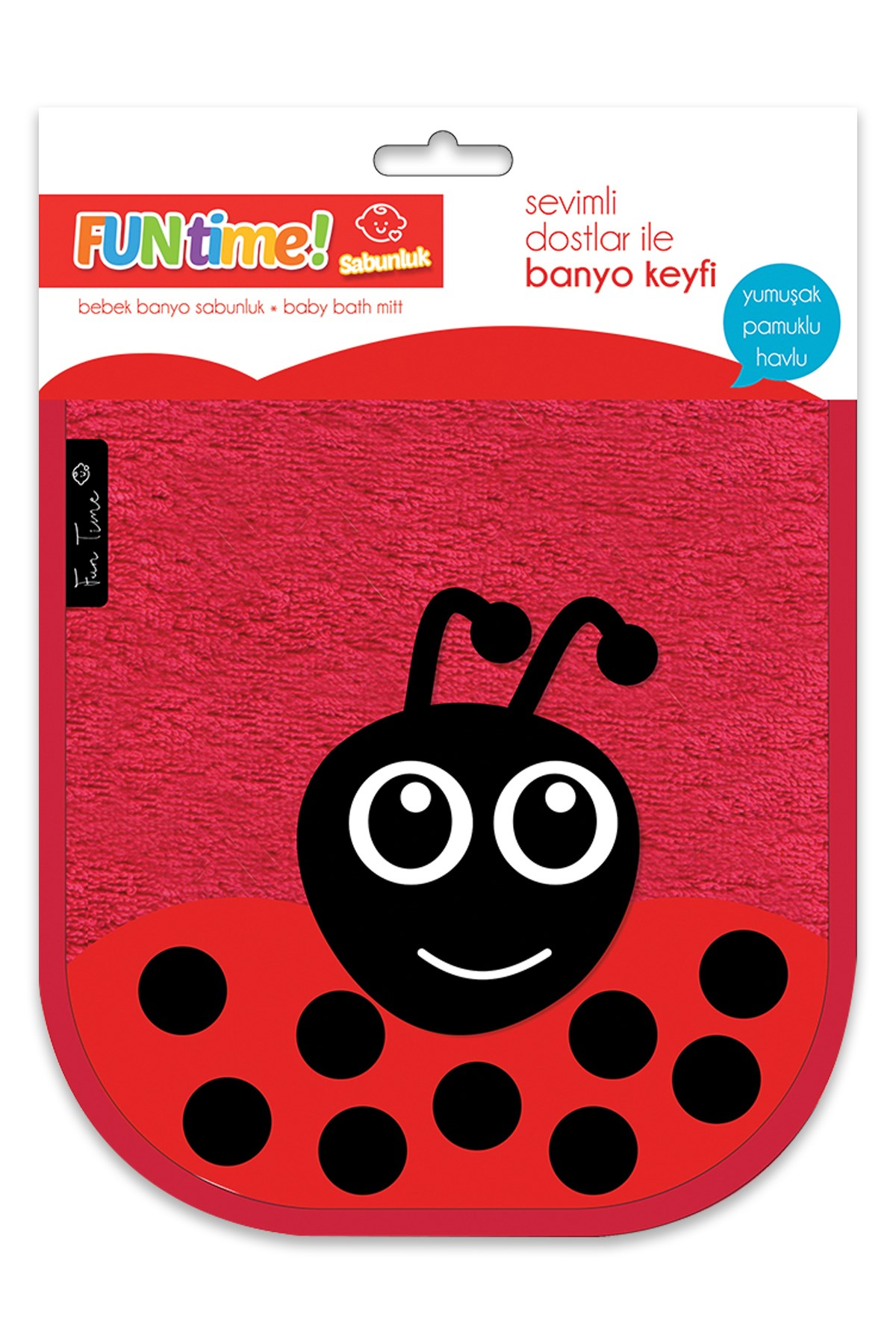 Fun Time % 100 Cotton Cute LadyBug Soap Glove For Babies And Kids