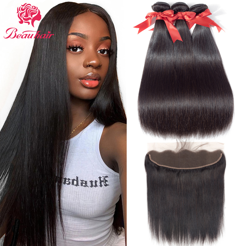 Brazilian Human Hair Weaves Straight Human Hair Bundle With Frontal Bundle With Lace Frontal Pre-Plucked With Baby Hair Beauhair