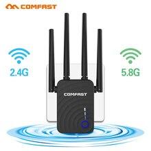 Comfast CF WR754AC 1200Mbps kablosuz Wifi genişletici tekrarlayıcı/yönlendirici/AP çift bant 2.4 & 5.8Ghz 4 anten uzun menzilli sinyal amplifikatörü