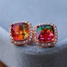 Korean Style Female Colorful Rainbow Stud Earrings Charm Zircon Stone Wedding Earrings 18KT Rose Gold Earrings For Women