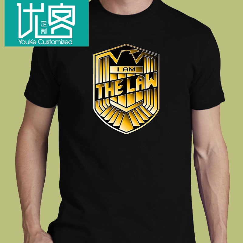 Judge Dredd I Am The Law Tee S-3XL T-Shirt Horror Action Movie Free Shipping Men T Shirt Short Sleeve Cool Casual image