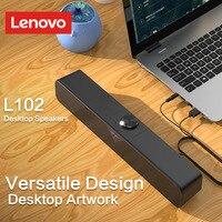 Lenovo-altavoz de ordenador L102, subwoofer con sonido estéreo, 3,5mm, Aux, para Macbook, portátil, PC, reproductor de música