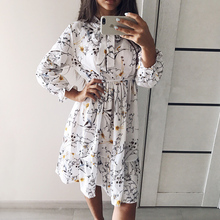 vzff  High Elastic Waist Party Dress Bow A-line Women Full Sleeve Flower Print Floral Bohemian Female Vestido Plus Size