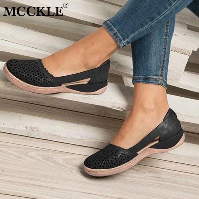 Women Flats Shoes Woman Shallow Slip On Hollow Out Breathable Sewing Solid Casual Female Shoe Platform Ladies Plus Size 34-43