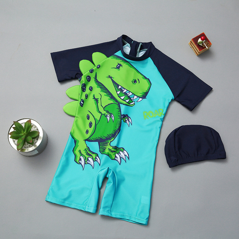 Boy KID'S Swimwear One-piece Boxer Short Sleeve Quick-Dry Diving Suit Medium-small Children Cartoon Dinosaur Infants Swimwear