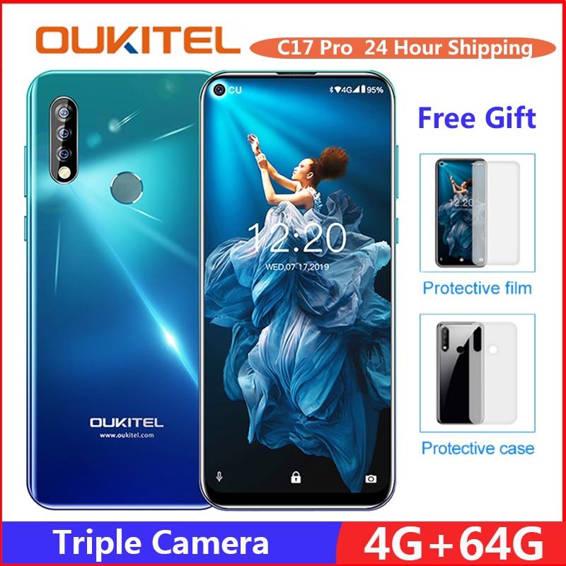 OUKITEL C17 Pro 6.35'' Android 9.0 19:9 MT6763 4GB 64GB Smartphone Face ID Octa Core 3900mAh Triple Camera 4G Mobile Phon