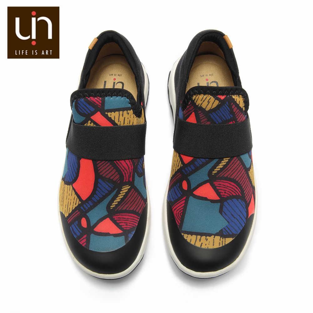 UIN Zaans Series ผสมสีถักรองเท้าผ้าใบแฟชั่นสำหรับ Big เด็ก Slip-on Loafer น้ำหนักเบาสบายรองเท้า /หญิง