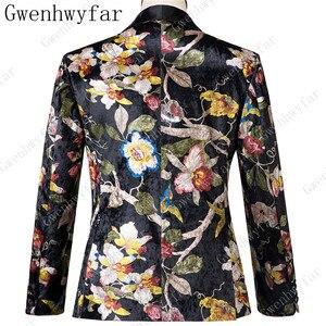 Image 3 - Gwenhwyfar ハンサム高級男性のスーツ高品質花柄ジャケット + パンツ新デザイングレート販売男性の結婚式のスーツベストマンスーツ男性