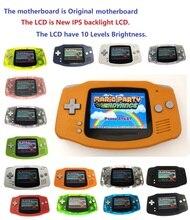 Recondicionado profissional para game boy, console gba com luz de fundo ips, lcd, mod console e 10 níveis de brilho