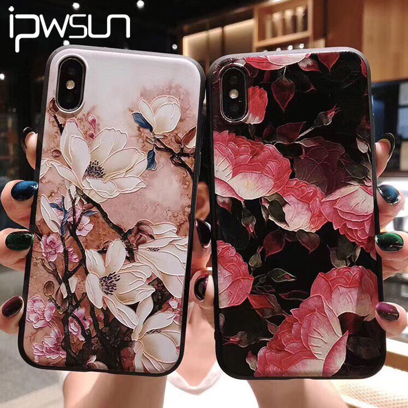 Relief Flower Leaf Phone Case For iPhone 12 MiNi 11 Pro Max X XS Max XR Feather Case For iPhone 6s 7 8 Plus Soft TPU Back Cover