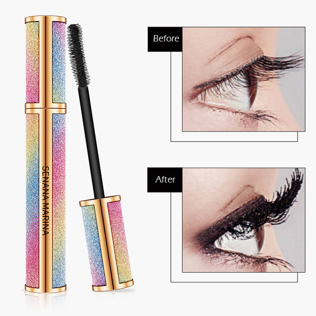 SENANA 4D Silk Fiber Lashes Thick Lengthening Mascara Long Black Lash Eyelash Extension Eye Lashes Brush Makeup Eye Cosmetics