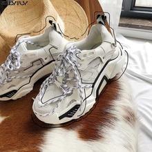SWYIVY Mesh Women Casual Shoes White Sne