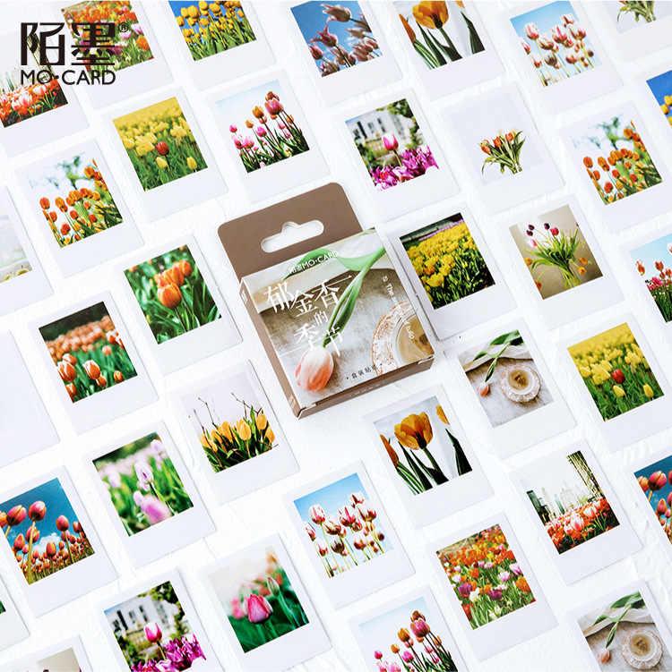46 Pcs/lot Tulip Bunga Musim Alat Tulis Stiker Sealing Label Perjalanan Sticker Diy Scrapbooking Diary Planner Album Dekorasi