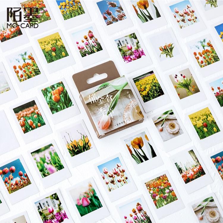 46pcs/lot Tulip Flowers Season Stationery Stickers Sealing Label Travel Sticker Diy Scrapbooking Diary Planner Albums Decoration