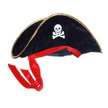 Pirate Hat Skull Pattern With Golden Trimming Pirate Fabric Party Hat For Halloween Costume Role Play Party Favor(China)