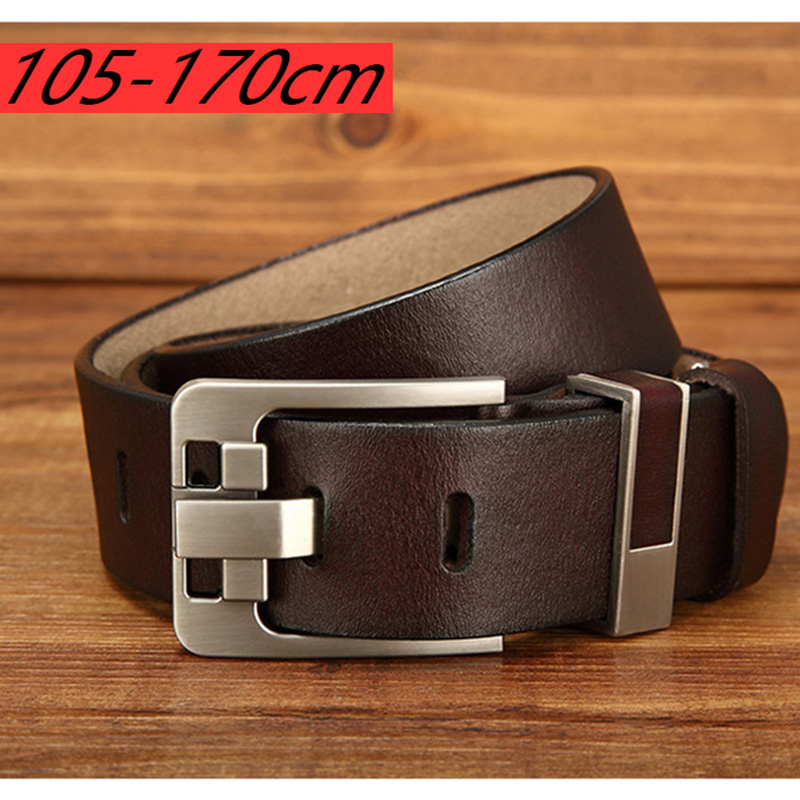 Large Size 160 170cm Men Pin Buckle Real Leather Belt High Quality Genuine Leather Designer Belt For Men Fashion New Male Gifts