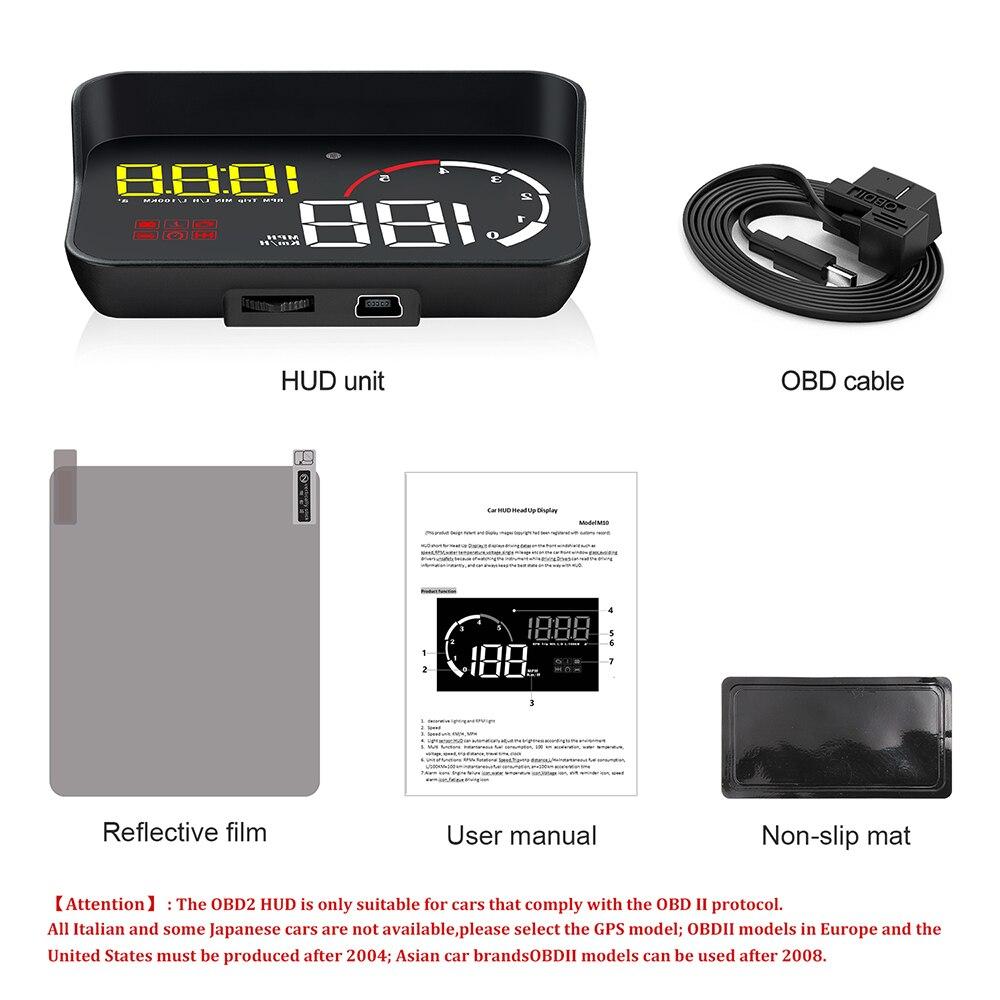Image 5 - OBD2 Display Intelligent Alarm System Windshield Projector Universal Overspeed Warning Car Hud Display Car Multifunction M10 A10Head-up Display   -
