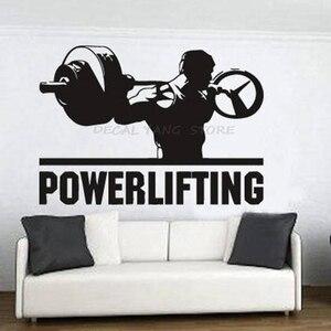 Powerlifting decalques de parede quarto decoração casa motivação treino ginásio vinil adesivos de parede fitness esporte musculação arte mural 1411