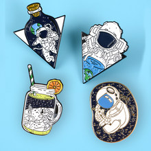Astronaut in the bottle Lapel Pins Little baby Soda Fashion Brooches Badges Backpack Enamel Pins Jewelry Gift For Aerospace fans(China)