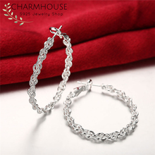 Charmhouse Pure Silver Earrings For Women Big Circle Twisted Hoop Earing 925 Jewelry Accessories Brincos Pendientes Gifts